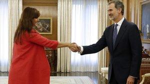 Laura Borràs y Felipe VI, este miércoles en la Zarzuela.