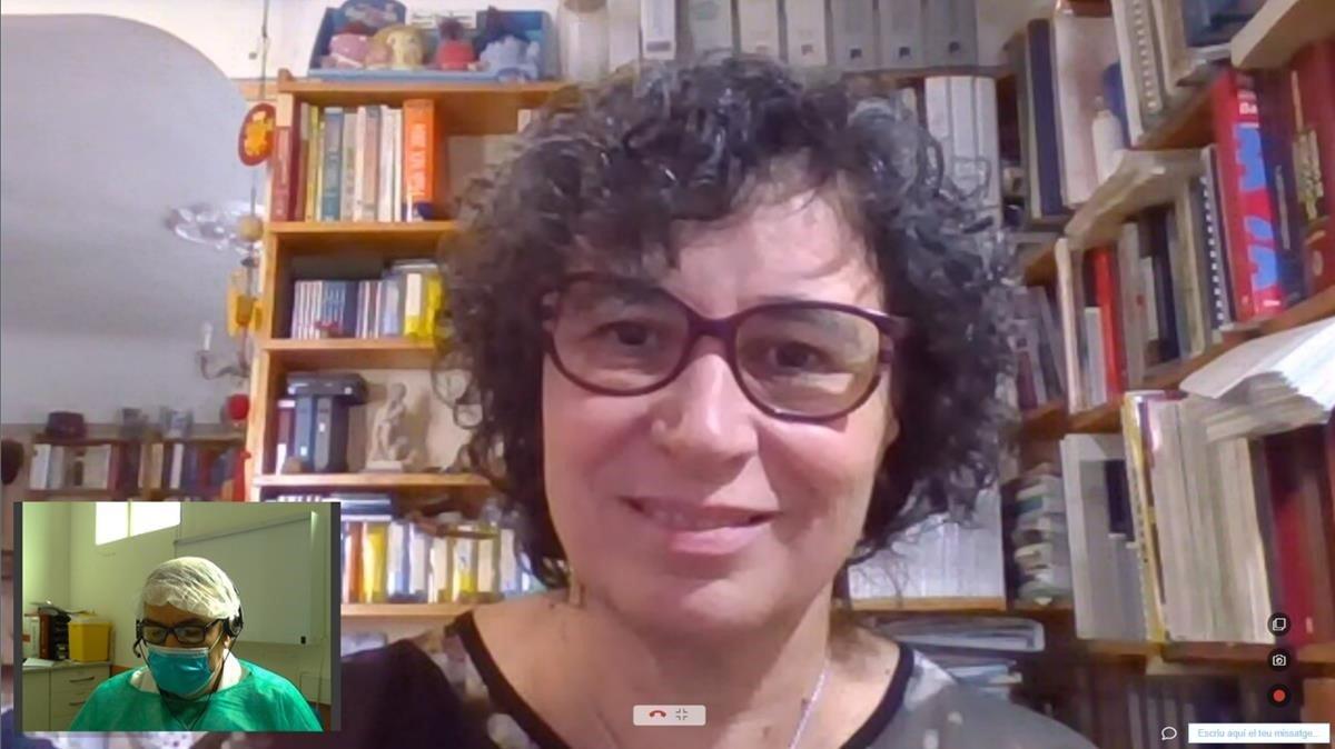 Una de las videoconsultas entre médico y una paciente, Marta Espinal, impulsadas por el CatSalut.