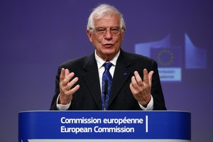 Brussels (Belgium), 08/09/2014.- European High Representative for Foreign Affairs and Security Policy and Vice-President of the European Commission Josep Borrell, holds a virtual news conference on the approval of Operation Irini, at the European Commission in Brussels, Belgium, 31 March 2020. Operation Irini is a new Mediterranean naval and air mission by the European Union to launch in April aiming stop more arms reach warring factions in Libya. (Bélgica, Libia, Bruselas) EFE/EPA/FRANCOIS LENOIR / POOL