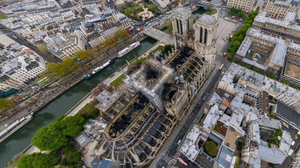 Vista aérea de Notre Dame.