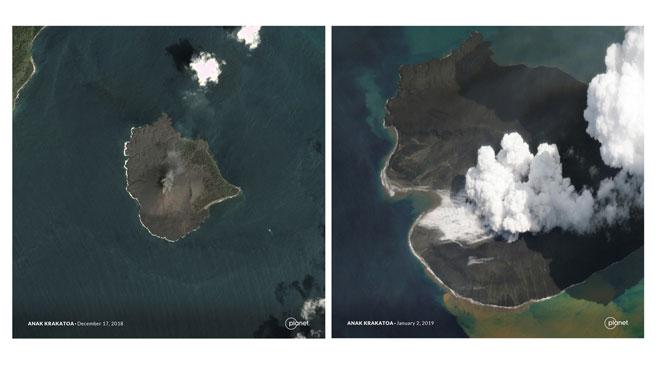 Així ha quedat el volcà que va causar el tsunami a Indonèsia