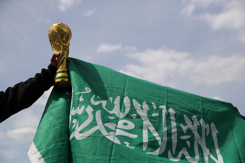 La bandera árabe en los alrededores del estadio de Moscú.