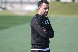 Xavi, en el entrenamiento posterior al triunfo sobre el Al-Rayyan.