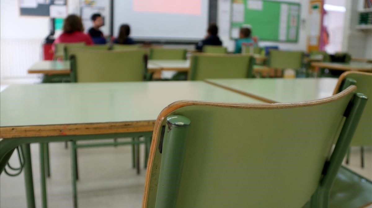 Imagen de un aula de una escuela pública catalana.