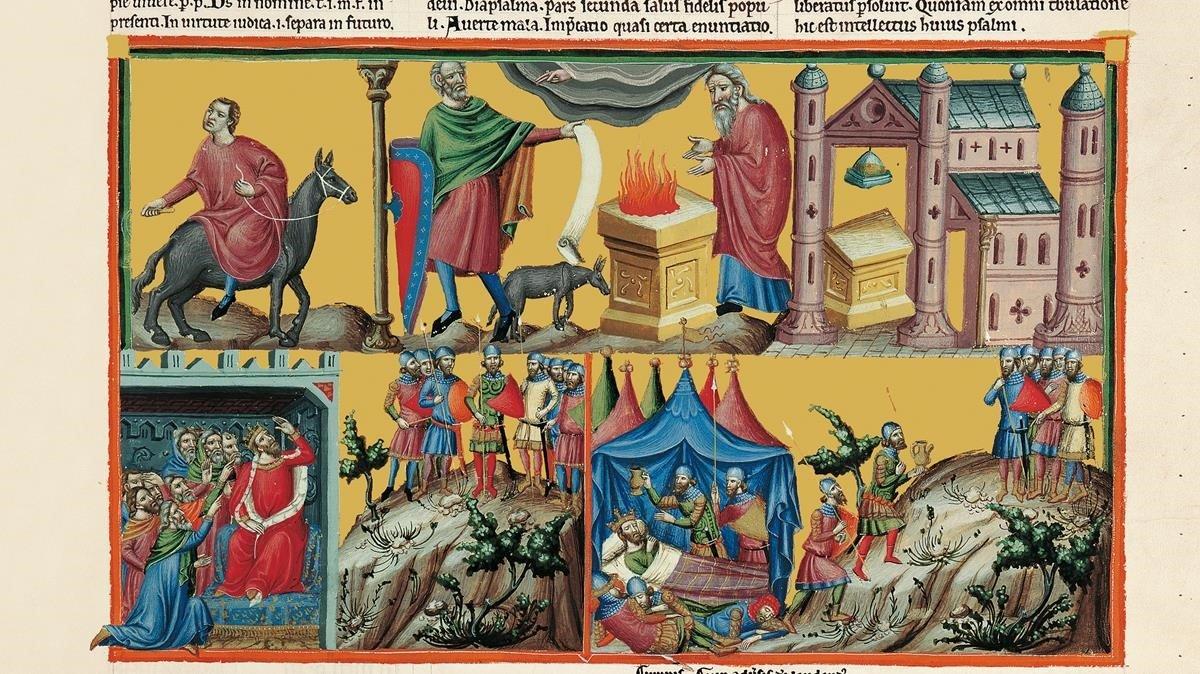 Detalle delclon del Salterio Anglo-Catalán, en la exposición del Reial Cercle Artístic.