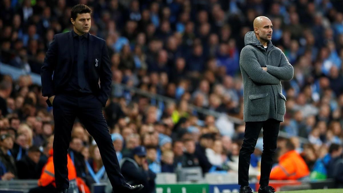 Los técnicos del Tottenham, MauricioPochettino, y el Manchester City, Pep Guardiola, durante los cuartos de final de la Champions League de la temporada 2018-2019.