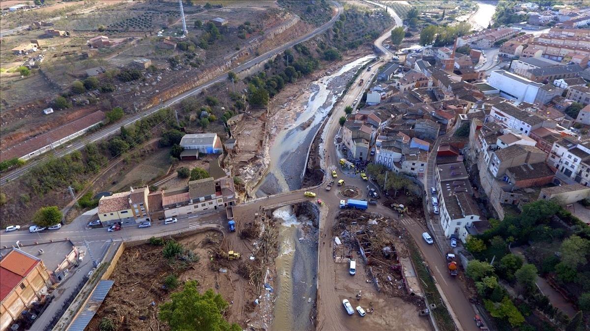 Vista aérea de L'Espluga de Francolí, tras las inundaciones.