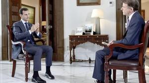 Momento de la entrevista de Asad con la cadena estadounidense NBC.