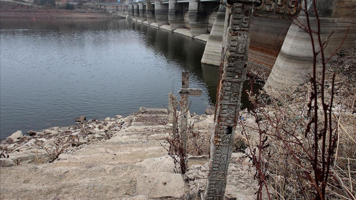 Efectos de la sequía en los embalses del Guadiana.