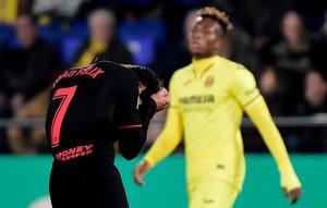 El atlético João Félix se lamenta tras una ocasión fallada ante el Villarreal.