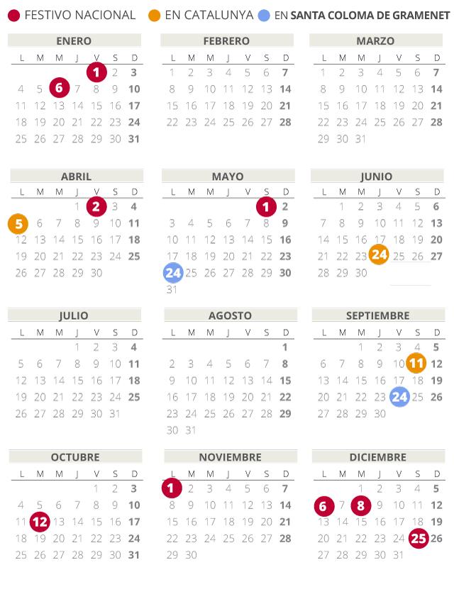 Calendario laboral de Santa Coloma de Gramenet del 2021 (con todos los festivos)