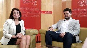 Adriana Lastra con Gabriel Rufián en una imagen de archivo.