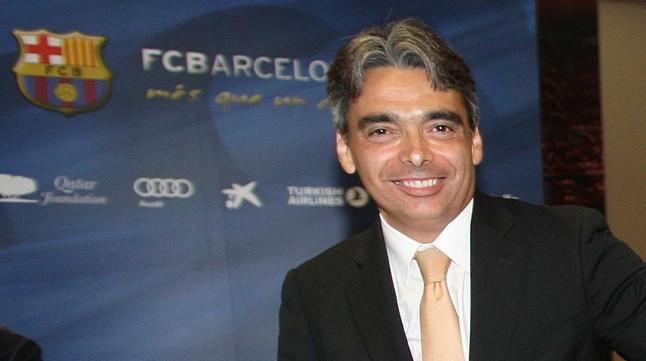 Albert Soler, en la presentación de un libro en el Camp Nou.