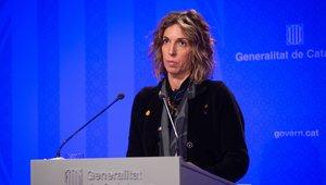 La 'consellera' de Empresa i Coneixement de la Generalitat, Àngels Chacón, durante una rueda de prensa tras el Consell Executiu del Govern.