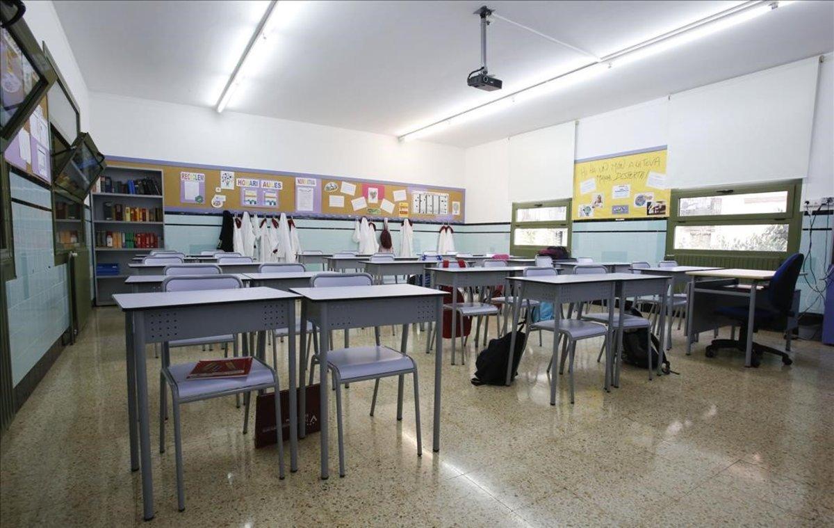 Aula de una escuela concertada en Barcelona.