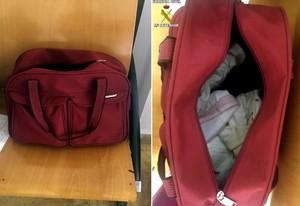 La bolsa en la que ocultaron un bebé.