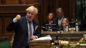 El primer ministro británico, Boris Johnson, el pasado miércoles en la Cámara de los Comunes.