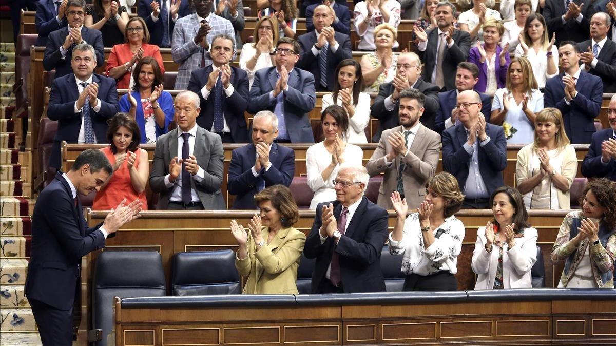 El candidato del PSOE, Pedro Sánchez, en el debate de investidura.