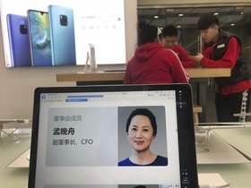 A profile of Huawei s chief financial officer Meng Wanzhou is displayed on a Huawei computer at a Huawei store in Beijing  China. AP Photo Ng Han Guan