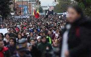 Protestas estudiantiles en Colombia.