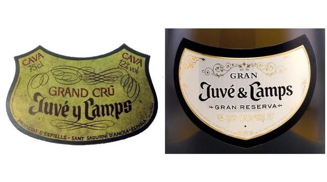 Etiquetas de los cavas Grand Crú Juve y Camps 1966 y Gran Juvé & Camps Brut 2011.