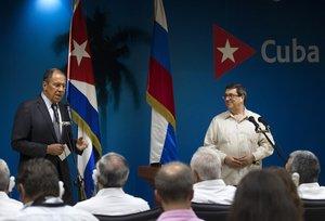 Los ministros de Exteriores de Rusia y Cuba, Serguéi Lavrov yBruno Rodriguez.