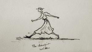 Un autorretrato de Eglantyne Jebb al que llamó 'The Champion Walker' (La caminante campeona).