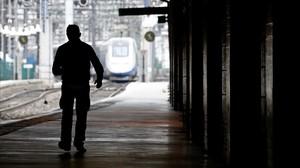 La estación de Montaparnasse el domingo, durante otra jornada de huelga de los ferroviarios.