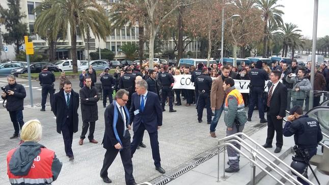 El expresident Artur Mas, a su llegada a los actos de inauguración del nuevo ramal de la L-9.