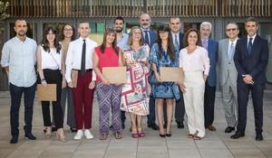 Los alumnos premiados este jueves por la Fundación Corachan.