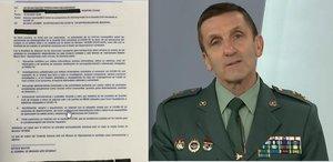 El general José Manuel Santiago, jefe de Estado Mayor de la Guardia Civil, y la orden que emitió por email el pasado 15 de abril.