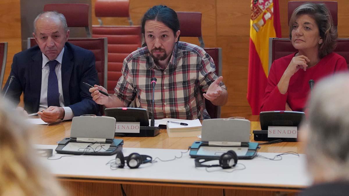El secretario general de Podemos, Pablo Iglesias, en la comisión sobre la financiación ilegal de los partidos del Senado