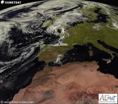 Imatge captada pel satèl·lit Meteosat per a lAgència Estatal de Meteorologia (Aemet).