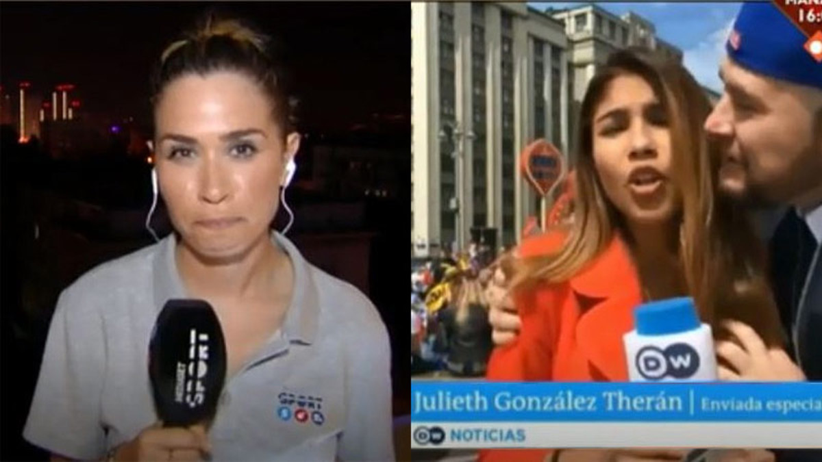 María Gómez, junto a una imagen del acoso a una periodista de la cadena alemana Deutsche Welle en el Mundial de Rusia.