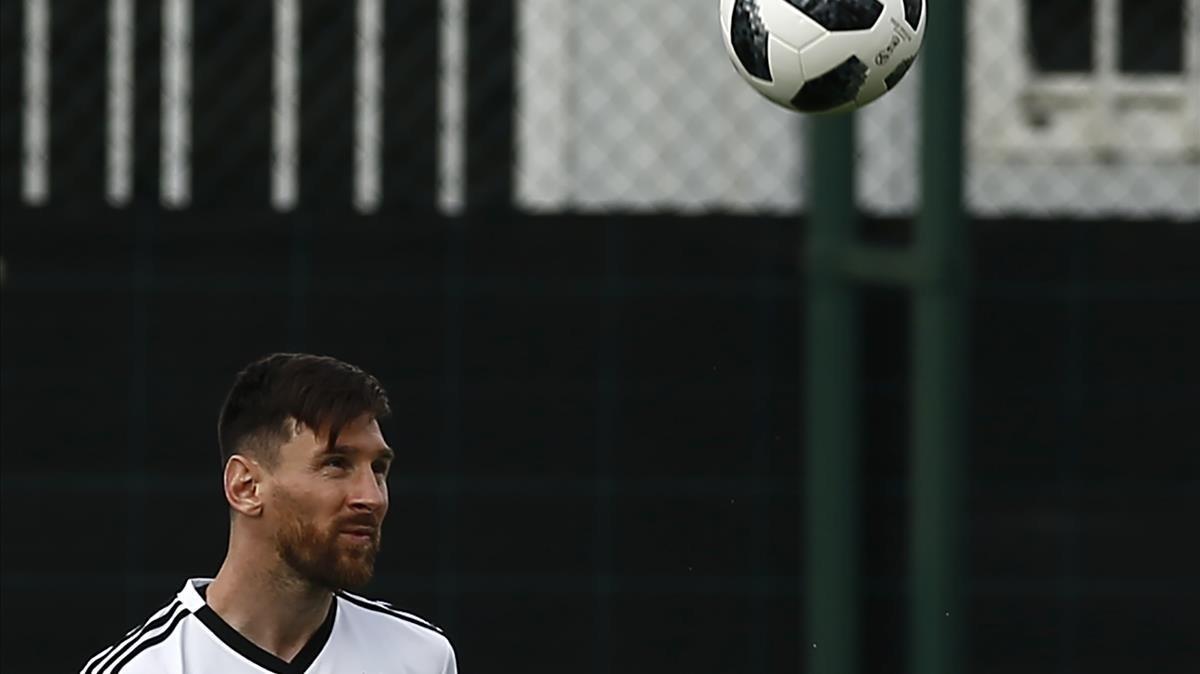 Messi, durante un entrenamiento con Argentina en Sant Joan Despí.