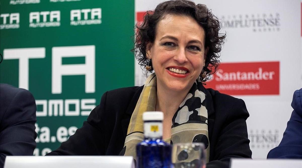 La ministra de Trabajo, Magdalena Valerio, durante su intervención enSan Lorenzo de El Escorial.