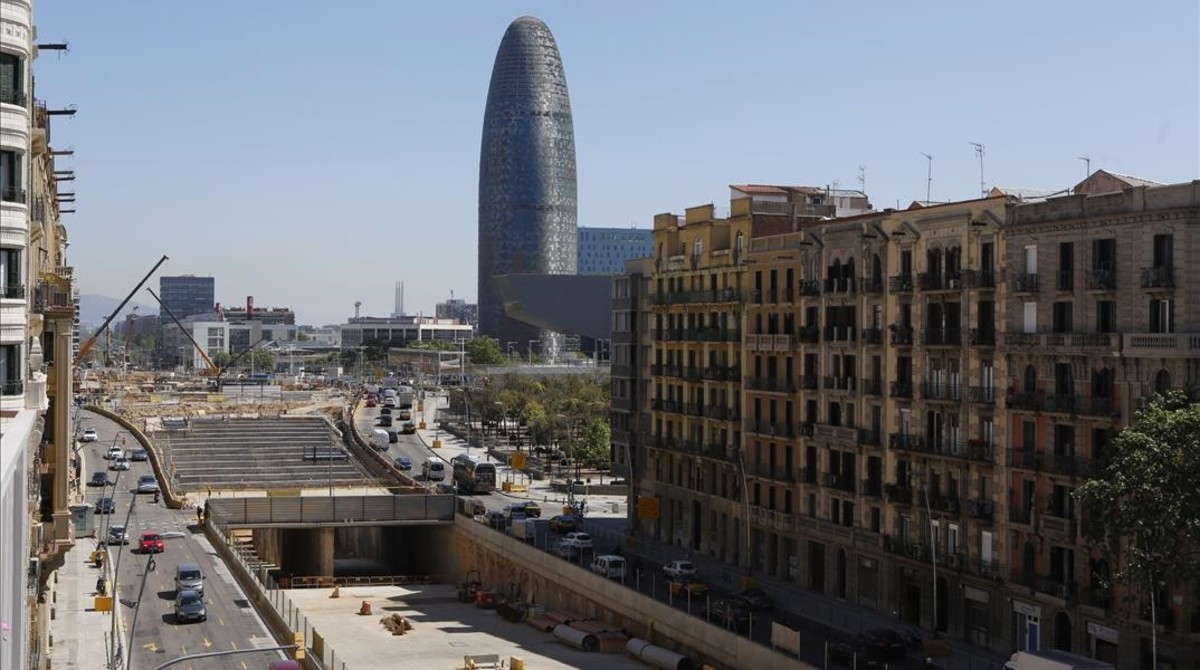 Obras del túnel de la plaza de las Glòries de Barcelona.