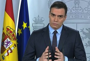 Madrid (Spain), 21/03/2020.- A handout screen grab made available by the Moncloa Palace institutional TV signal shows Spanish Prime Minister Pedro Sanchez during a presser after chairing a Coronavirus Technical Management meeting in Madrid, Spain, 21 March 2020. Spain faces the seventh day of national lockdown in an effort to slow down the spread of the pandemic COVID-19 disease caused by the SARS-CoV-2 coronavirus. (España) EFE/EPA/MONCLOA PALACE PRESS OFFICE / HANDOUT HANDOUT EDITORIAL USE ONLY/NO SALES/NO ARCHIVES