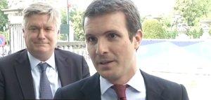 Pablo Casado, a su llegada a la cumbre del Partido Popular Europeo, este domingo en Bruselas.