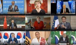 Participantes en la asamblea virtual de la OMS: de izquierda a derecha y de arriba abajo, Ghebreyesus (director general de la OMS), Sommaruga (Suiza), Guterres (ONU), Xi (China), Merkel (Alemania), Macron (Francia), Moon (Corea del Sur), Mottley (Barbados) y Ramaphosa (Sudáfrica).