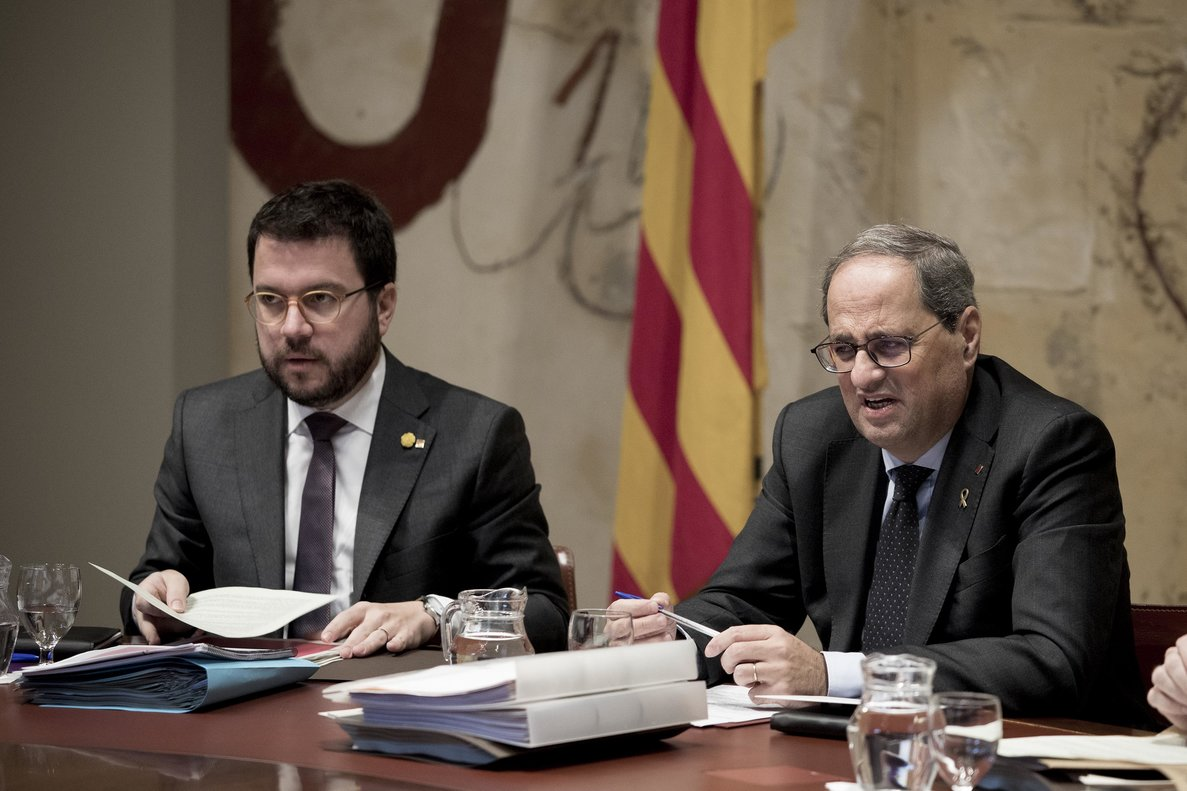 Pere Aragonès y Quim Torra, en una reunión del Govern.