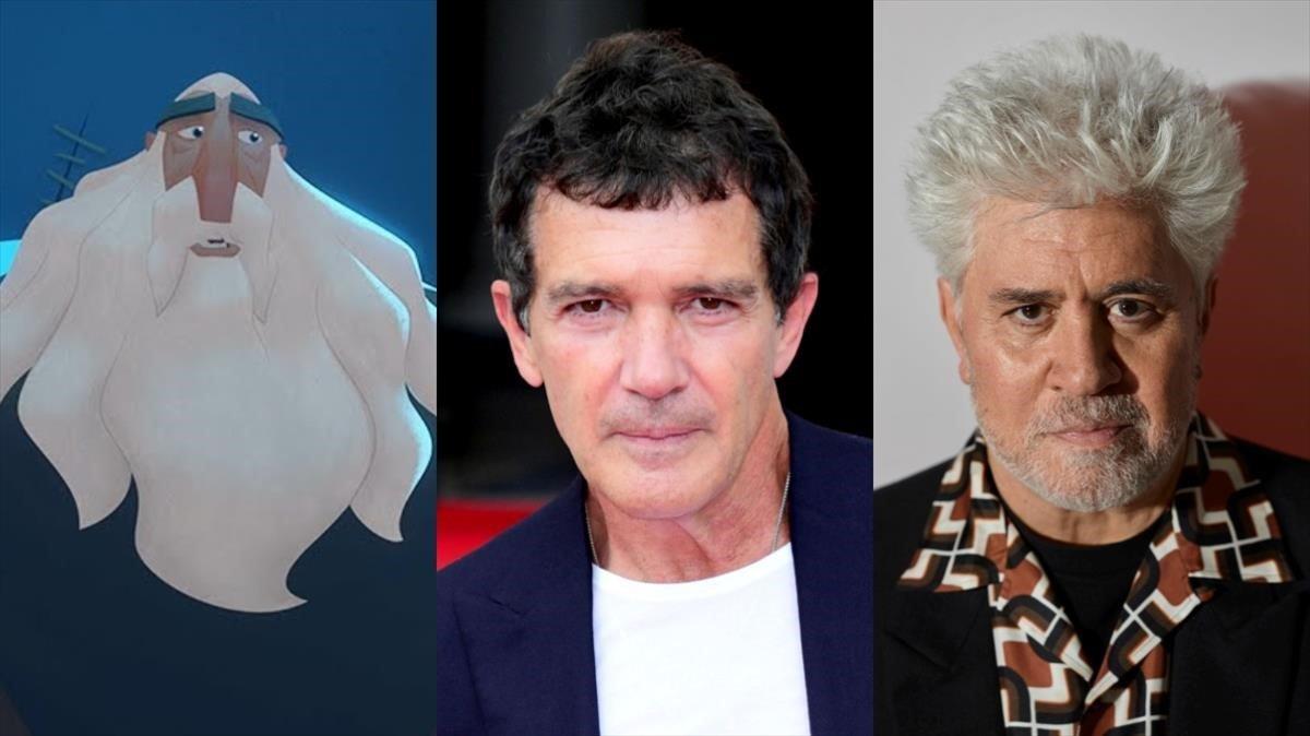 El personaje de la película 'Klaus', Antonio Banderas y Pedro Almodóvar.