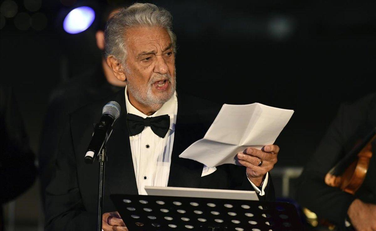 Plácido Domingo pronuncia un discurso en Salzburgo, el pasado 6 de agosto.