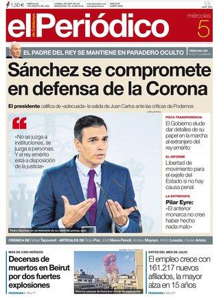 La portada de EL PERIÓDICO del 5 de agosto del 2020