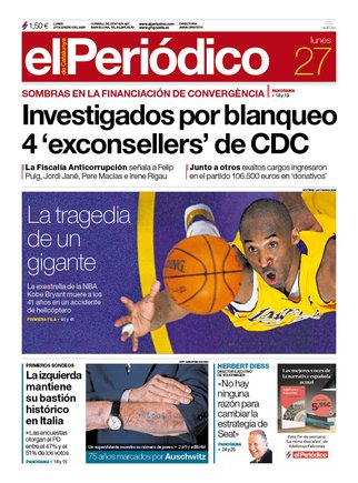 La portada de EL PERIÓDICO del 27 de enero del 2020.