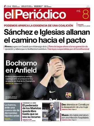 La portada de EL PERIÓDICO del 8 de mayo del 2019