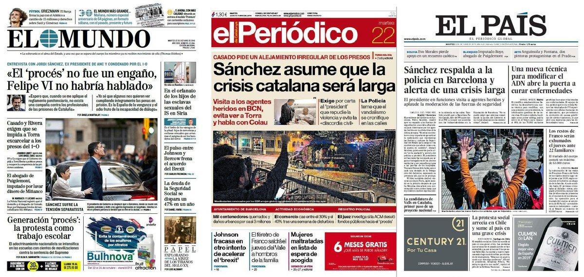 Prensa de hoy: Las portadas de los periódicos del martes 22 de octubre del 2019