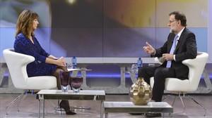 El presidente del Gobierno en funciones, Mariano Rajoy, este miércoles en el programa de Ana Rosa.