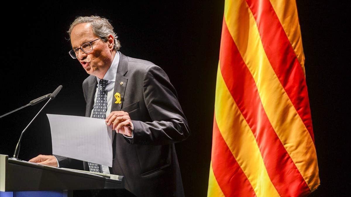El presidente de la Generalitat, Quim Torra, durante su conferencia en el TNC.
