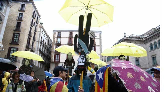 Protesta de los CDR en Barcelona en el aniversario de la DUI